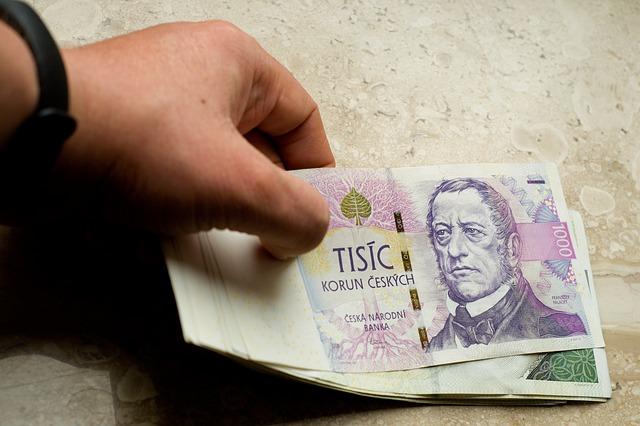 české peníze v ruce muže